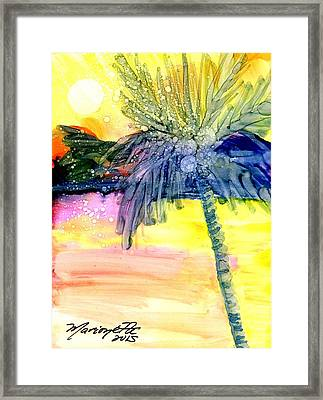 Framed Print featuring the painting Coconut Palm Tree 3 by Marionette Taboniar