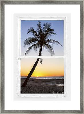 Coconut Palm Tree Tropical Sunset Window View Framed Print by James BO Insogna