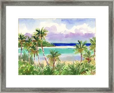 Coconut Palms And Lagoon, Aitutaki Framed Print
