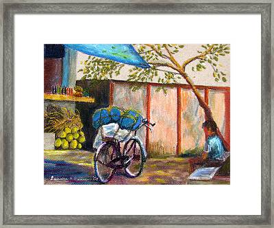 Coconut Stand Framed Print