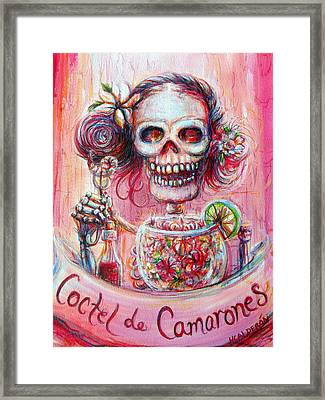 Framed Print featuring the painting Coctel De Camarones by Heather Calderon