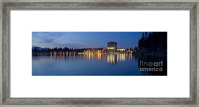 Coeur D Alene Night Skyline Framed Print