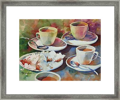 Coffee And Beignets Framed Print by Sue Zimmermann