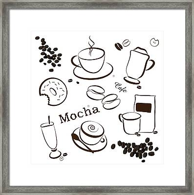 Coffee And Cafe Background Framed Print by Serena King