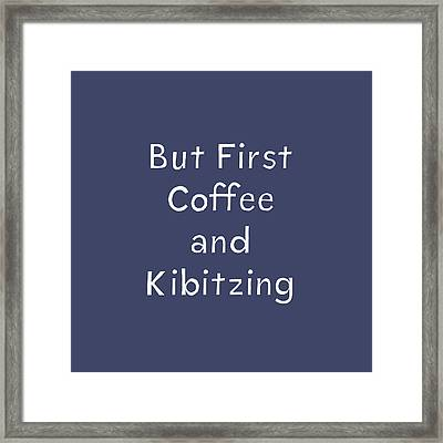 Coffee And Kibitz- Art By Linda Woods Framed Print