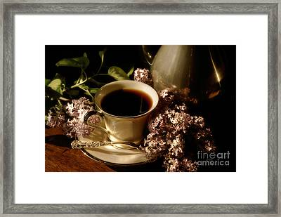 Coffee And Lilacs In The Morning Framed Print by Lois Bryan