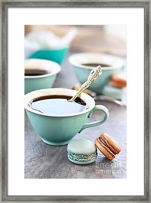 Coffee And Macarons Framed Print by Stephanie Frey