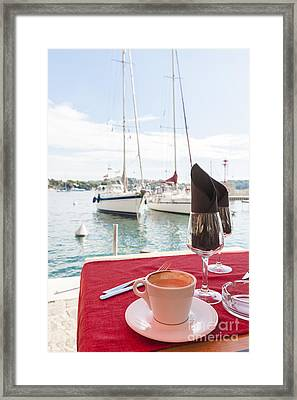 Coffee At Mediterranean Harbour Framed Print