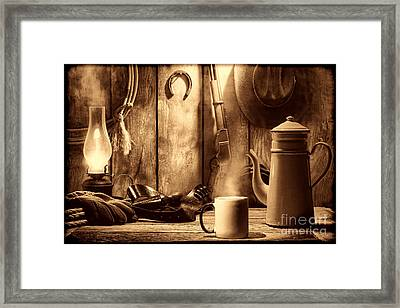 Coffee At The Cabin Framed Print