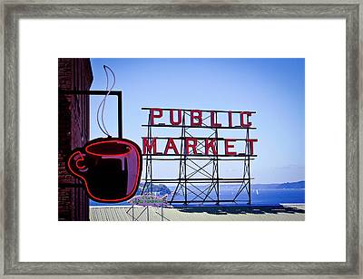 Coffee At The Market Framed Print