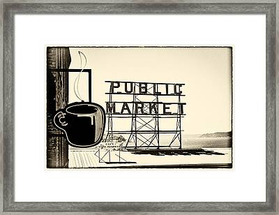 Coffee At The Market II Framed Print