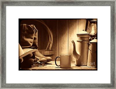 Coffee At The Ranch Framed Print