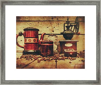 Coffee Bean Grinder Beside Old Pot Framed Print