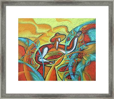 Framed Print featuring the painting Coffee Bean Harvest by Leon Zernitsky