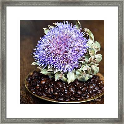 Coffee Beans And Blue Artichoke Framed Print