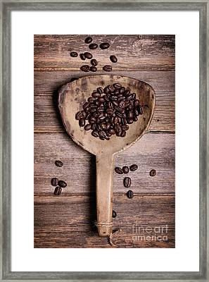 Coffee Beans In Antique Scoop. Framed Print