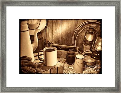 Coffee Break At The Chuck Wagon Framed Print