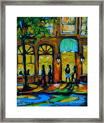 Coffee Break Cafe Framed Print by Richard T Pranke