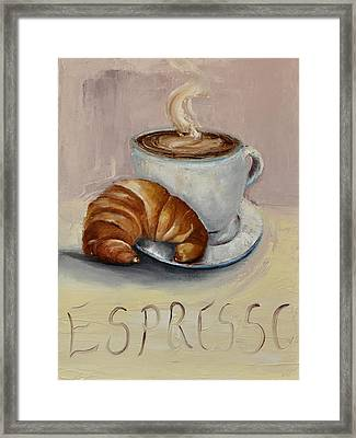 Framed Print featuring the painting Coffee Break by Lindsay Frost