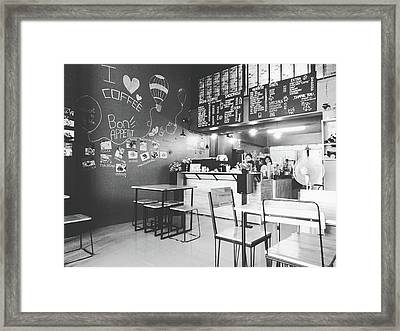 Coffee Cafe Black And White Framed Print by Sirikorn Techatraibhop