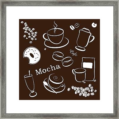 Coffee/cafe Pattern Background Framed Print by Serena King