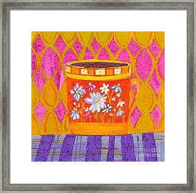 Coffee Cup - Floral Eclectic Design - Funky Colors Illustration Framed Print by Patricia Awapara