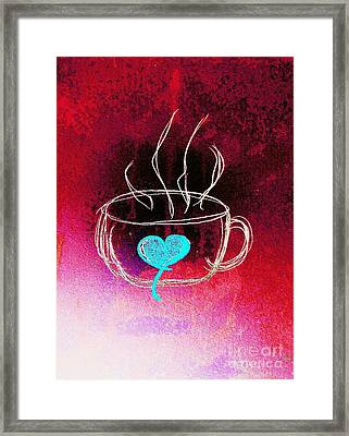 Coffee Cup Love Abstract Framed Print