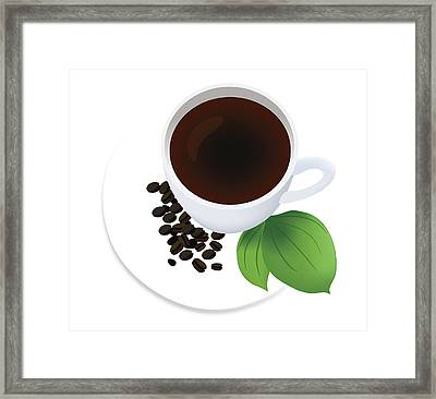 Coffee Cup On Saucer With Beans Framed Print