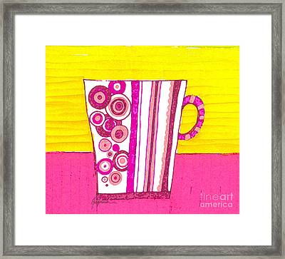 Coffee Cup - Teacup - Pink Circle And Lines Modern Design Illustration Art Framed Print by Patricia Awapara