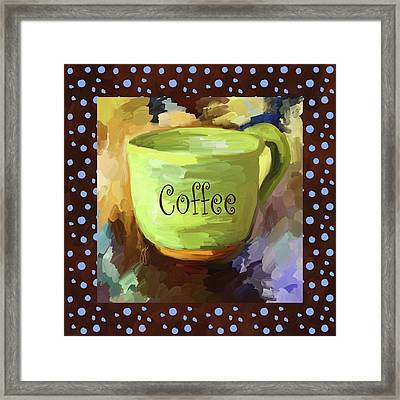 Coffee Cup With Blue Dots Framed Print by Jai Johnson