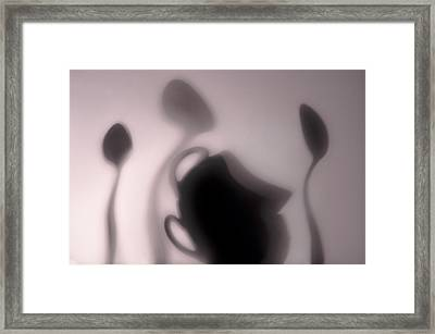 Coffee Cups And Spoons   Framed Print by larisa Fedotova