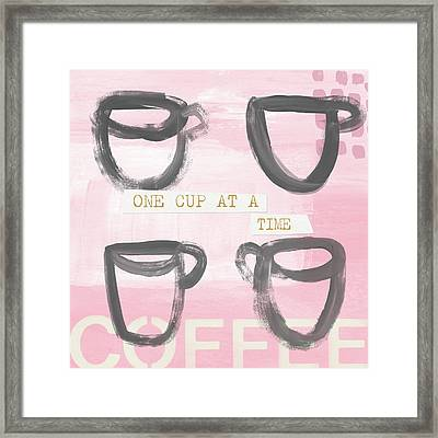 Coffee Cups Pink- Art By Linda Woods Framed Print