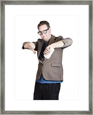 Coffee Expert Giving A Two Thumbs Down Review Framed Print