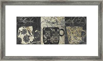 Coffee Flavors Gold And Black Framed Print by Mindy Sommers