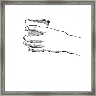 Coffee Hand Framed Print by Karl Addison