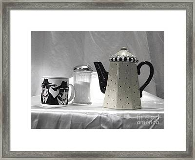 Coffee In Black And White Framed Print