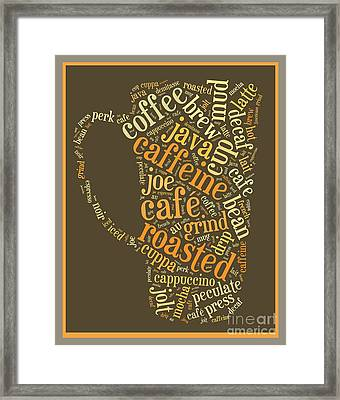 Coffee Lovers Word Cloud Framed Print by Edward Fielding