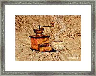 Coffee Mill And Beans Framed Print by Michal Boubin