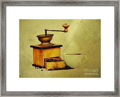 Coffee Mill And Cup Of Hot Black Coffee Framed Print