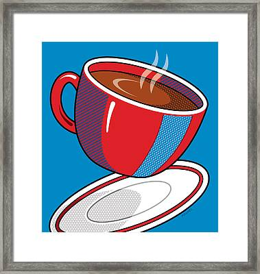 Coffee On Blue Framed Print by Ron Magnes