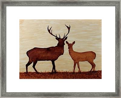 Coffee Painting Deer Love Framed Print by Georgeta  Blanaru