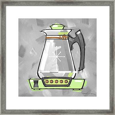 Coffee Pot Lime Framed Print by Larry Hunter