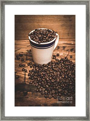 Coffee Shop Cup And Beans Framed Print by Jorgo Photography - Wall Art Gallery