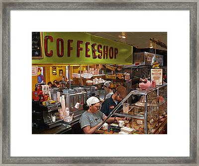 Coffee Shop Framed Print by Ted Papoulas