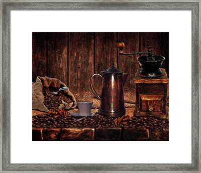 Coffee Time Framed Print by Wishes and Whims Originals By Michelle Jensen