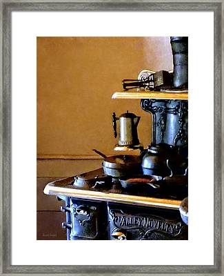 Coffeepot On Stove Framed Print by Susan Savad