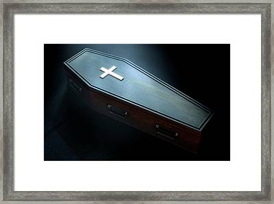 Coffin And Crucifix Framed Print by Allan Swart