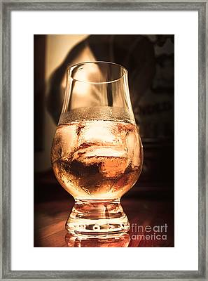 Cognac Glass On Bar Counter Framed Print
