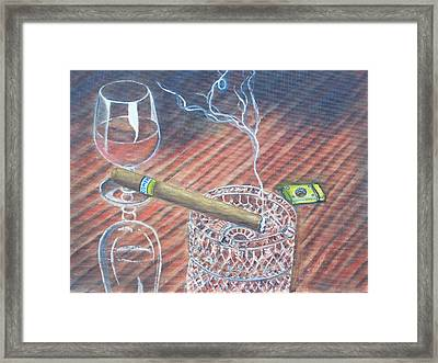 Cohiba And  Wine Framed Print by Charles Vaughn