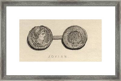 Coin From The Time Ofjovian, Flavius Framed Print by Vintage Design Pics